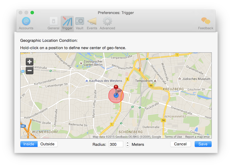 Screenshot of geographic location trigger to automatically establish a VPN connection based on the user's location.
